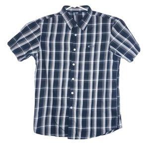 Oakley Mens L Black Stripe Check Button Up Shirt